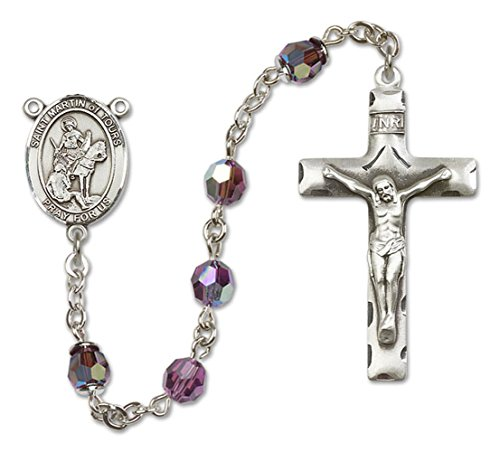 Custom Color Choices All Sterling Silver Rosary With Amethyst , 6Mm Highest Swarovski Crystal, Austrian Tin Cut Aurora Borealis Beads. Hand-Made In The U.S.A., The Rosary Features A St. Saint Martin Of Tours Medal Pendant Center. St. Saint Martin Of Tours