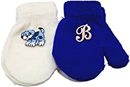 Two Pairs Magic Mitten with Monogrammed Letter for Infant Girls Ages 3-12 Mnth