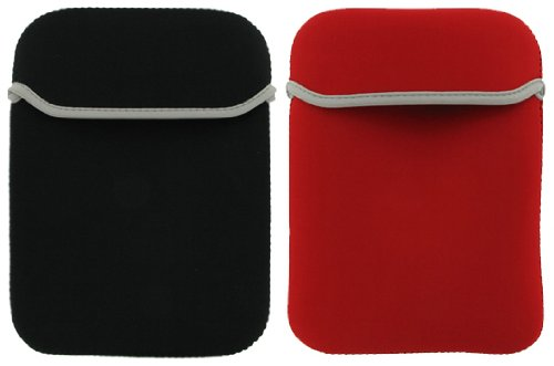 2-Sided Reversible Premium Laptop Just Fit Neoprene Sleeve Case Cover for Amazon Kindle 1st and 2nd Generation Electronic Reading Device (Kindle NOT included) , Black / Red