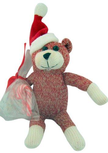 Sock Monkey Style Red Fur Teddy Bear Wearing Santa Hat 8