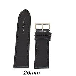 Like 26 mm Leather Plain Matte Finish Watch Strap (Black)
