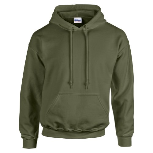Gildan Hooded Sweatshirt Heavy Blend Plain Hoodie Pullover Hoody Military Green L