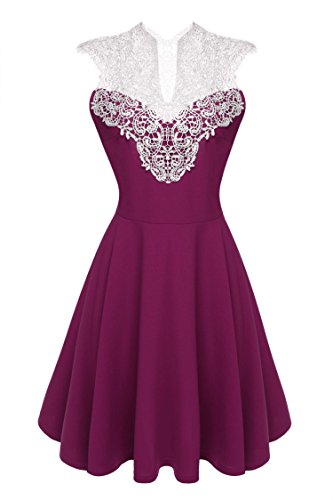 ACEVOG Women's Lace V Neck Sleeveless Sexy Evening Party Cocktail Pleated Dress