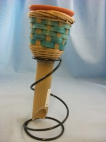 Garden Candle in Bamboo holder in LIGHT BLUE weave design, complete with metal spiral stand. GG565 LGT BLUE