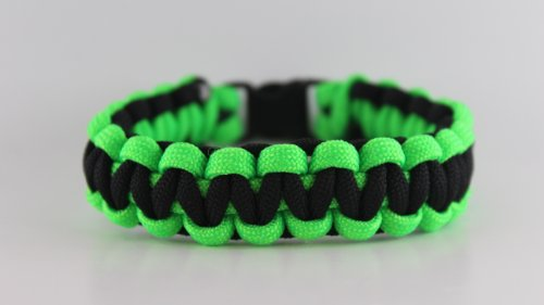 Lime Green and Black Paracord Bracelet - 7 Inches