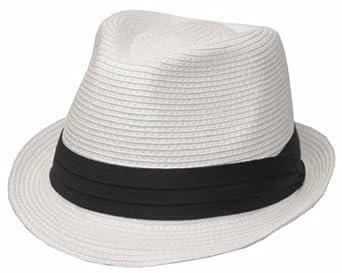 c26b8b6b077 EH4022F - Mens Structured 100% Paper Straw Black Band Fedora Hat -  White Small Medium