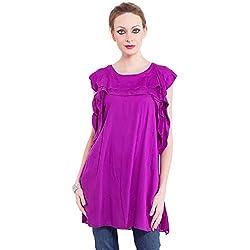TUNTUK Women's Angelina Dress Purple Cotton Dress