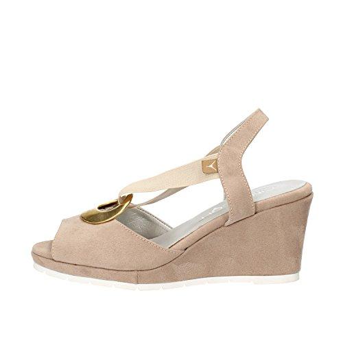 CINZIA SOFT sandali donna beige camoscio tessuto AG825 (35 EU)