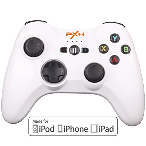 Apple MFi Certified BEBONCOOL PXN Wireless Bluetooth Game Controller Gamepad Joypad Joystick for iPhone, iPad, iPod touch with Detachable Phone Clip (MFi-White)