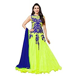 Aarti Lifestyle Women's Net Anarkali Suit Dress Material (FA208-50014-F_FFH_Green)