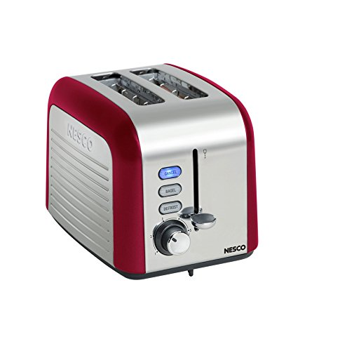 Nesco - Red 1000-Watt 2-Slice Compact Stainless Steel Toaster