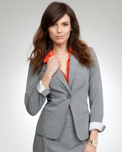 Bebe Blair Stitch Pinstripe Jacket - PETITE Heather Grey Size 2P
