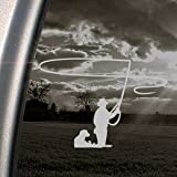 Fly Fishing Gray Decal Car Truck Bumper Window Gray Sticker
