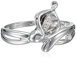 Sterling Silver Calla Lily Diamond-Accent Ring (0.01 cttw, I-J Color, I2-I3 Clarity), Size 6