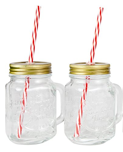 Mason Jar Mugs with Handle, Tin Lid and Plastic Straws. 16 Oz. Each. Old Fashion Drinking Glasses (2). By Lily