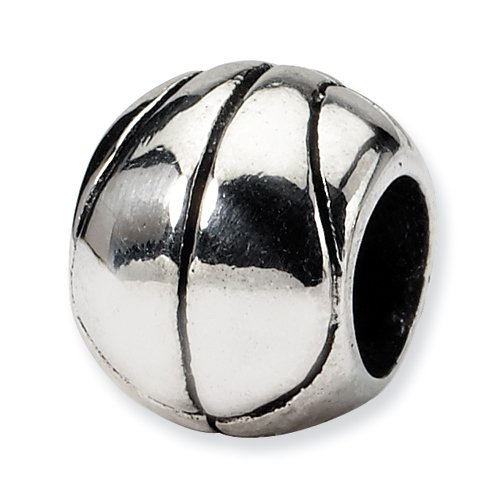 .925 Sterling Silver Basketball Bead