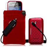 SAMSUNG GALAXY Y S5360 4 PC LUXURY GIFT ACCESSORY PACK - RED TPU GEL SKIN / CASE / COVER + SCREEN PROTECTOR + POUCH CASE + CAR CHARGER PART OF THE QUBITS ACCESSORIES RANGEby Qubits