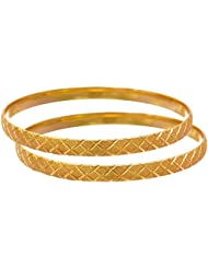 JFL - Traditional Ethnic One Gram Matt Gold Plated Designer Bangle For Women & Girls