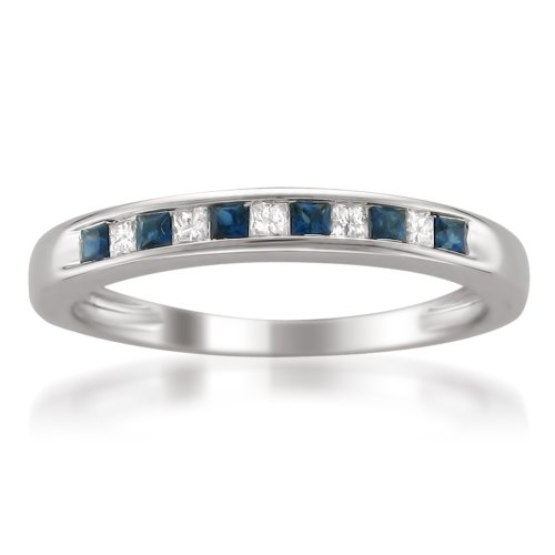 Cheapest 14k White Gold Princess-cut Diamond and Blue Sapphire Wedding Band Ring (1/3 cttw, H-I, I1-I2)