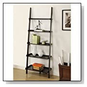 Mintra Black Finish 5-Tier Ladder Book Shelf