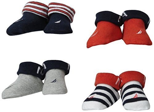 Nautica Baby-Boys Newborn 4 Pack Solid And Stripe Bootie, Assorted, 0-6 Months back-1074410