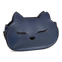 BMC Womens Midnight Blue PU Faux Leather Fox Face Ears Animal Theme Fashion Clutch Shoulder Strap Handbag