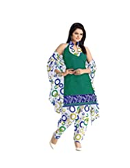 BanoRani Womens White & Green Color PolyCotton UnStitched Dress Material