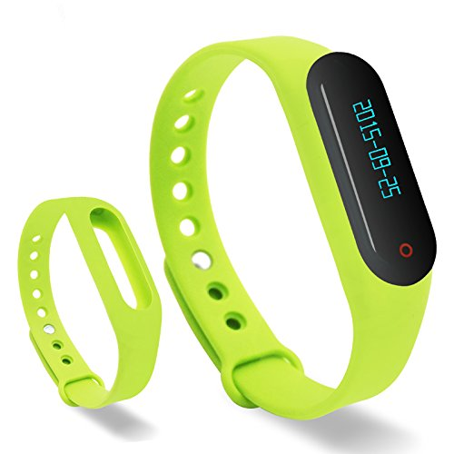 Lincass Touch Screen OLED Smart Healthy Bracelet Watch Wristband Sport Gym Fitness Tracker Stopwatch Passometer WristWatch Phone Mate Supports Android 4.3 or Above Android Smartphones (Green)