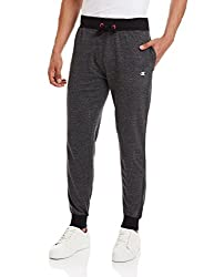 Champion Men's Cotton Track Pants (8907350152507_Champ 23_Small_Anthra and Black)