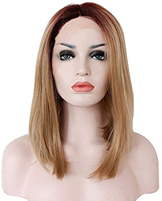 Ebingoo Short Synthetic Lace Front Wig Black Roots to Blonde Bob Wigs Ombre Straight for Women JLS018