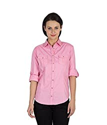 Hypernation Pink Color Full Sleeves Casual Shirts For Women