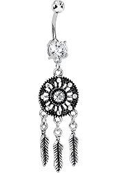 Clear Mystical Black Dreamcatcher Dangle Belly Button Ring