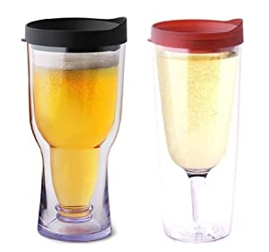 His & Her SET Merlot Vino2Go XL with Black Brew2Go Beer Wine Tumblers Adult Sippy Cup by Needzo Gifts