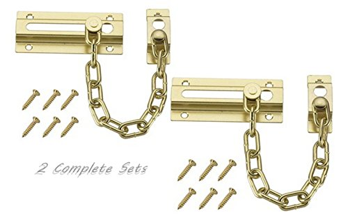 "2 Complete set of 3.5"" Solid Brass Slide Bolt Entry Door Lock Security Chain Guard"