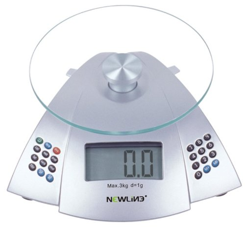 Newline Digital Nutrition Calculator Kitchen Food Diet Scale, Silver