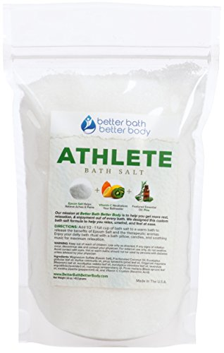 Athlete Bath Salt 1 Pound - Epsom Salt Bath Soak With Pine & Eucalyptus Essential Oils Plus Vitamin C - All Natural Ingredients No Perfumes No Dyes - Post Workout Soak For Tired Sore Muscles (Runners Salt compare prices)