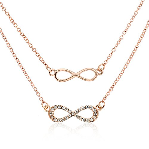 Rose Goldtone Double Chain Infinity Crystal Necklace