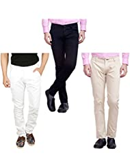 Nimegh White, Cream And Black Color Cotton Casual Slim Fit Trouser For Men's (Pack Of 3)