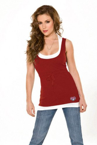 Washington Nationals Women&#039;s 2-Layered Racer Back Tank Top - by Alyssa Milano at Amazon.com
