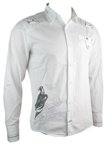 Mens White RNT Casual Shirt Logo Party Wear Italian Design