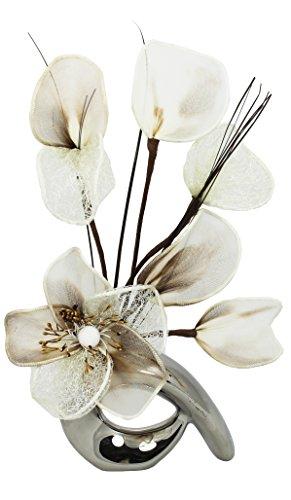 Flourish, QH1, Vaso con fiori decorativi artificiali, cromato, Marrone (braun)