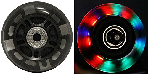 Best Price! LED INLINE WHEELS 76mm 82a Skate Rollerblade Ripstik Luggage LIGHT UP 2-Pack w/ Bearings