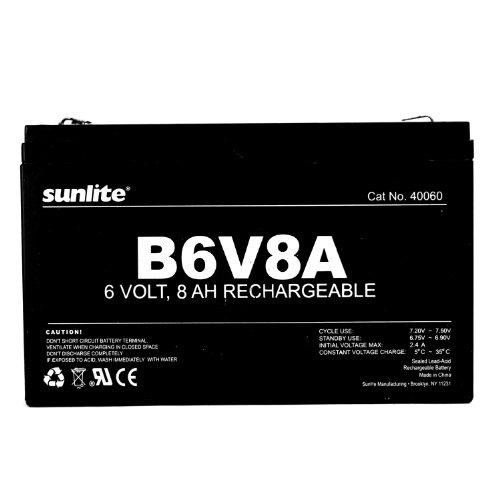 Sunlite 40060-SU B6V8A 8-Amp Hour Emergency Backup Battery, 6-volt