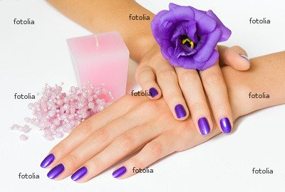 "Wallmonkeys Peel and Stick Wall Graphic - Hands with Purple Manicure and Flower, Pink Candle and Beads - 18""W x 12""H"