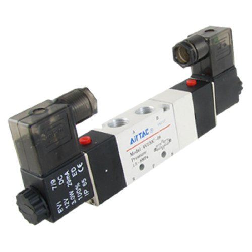 DC 12V 4V230C-08 3 Position 5 Way Pneumatic Solenoid Valve (12 Valve Exaust compare prices)