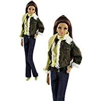 6in1 Set Fashion Outfit Clothes Coat+Vest+Pants+Scarf+Hat+Shoes For Barbie Doll