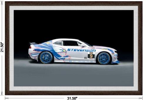 Chevrolet Camaro Z28.R (2014) Framed Car Art Poster Print Blue/White Side Studio View in Dark Walnut Frame, 1