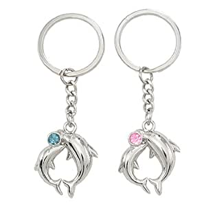 Lovers Dolphin Pendant Silver Tone Key Chain Keyring