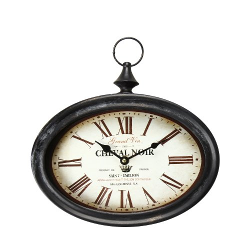 "Adeco Black Iron Vintage-Inspired Pocket Watch Style Wall Hanging Clock ""Cheval Noir"" Home Decor front-20073"