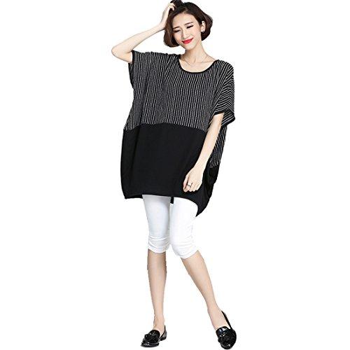 Bellezza Donna T-shirt Lunga Camicia a Righe Maniche Corte Giuntura Tunica Taglia Grossa Sciolto Maglietta Ragazza Tops Estate